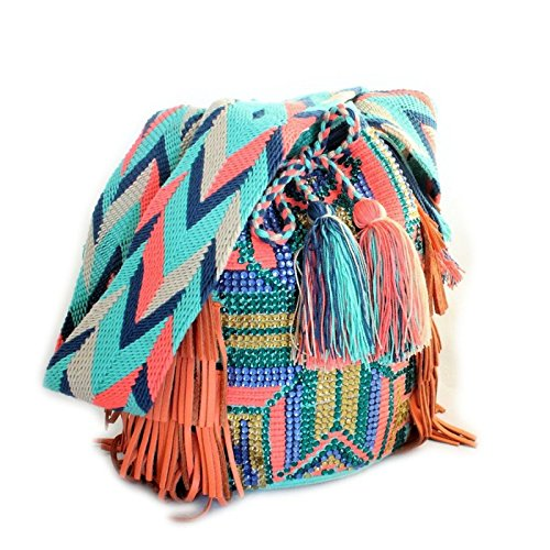 Bolso, Mochila Wayuu Original - Multicolor cristales y franjas: Amazon.es: Zapatos y complementos