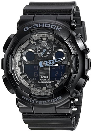Casio G-Shock Analog Digital Dial Black Resin Mens Watch GA100CF-1A