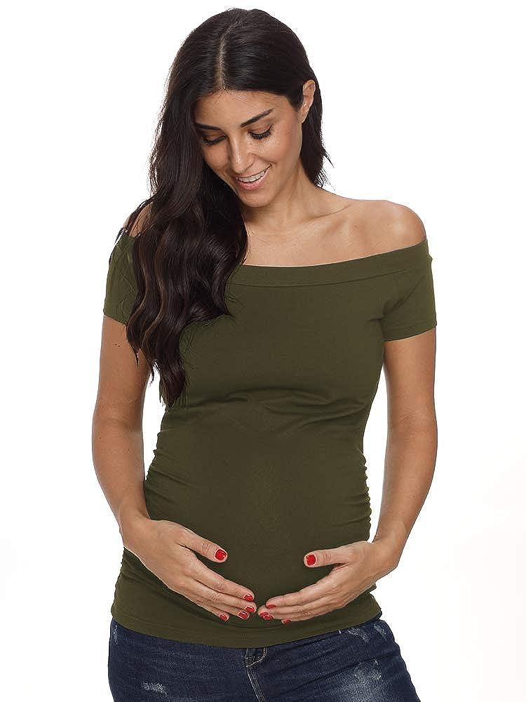 Love2Mi Womens Maternity Tops Off Shoulder Short Sleeve Side Ruched Pregnance T-Shirt