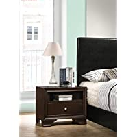 Roundhill Furniture B101EP Randers Wood Nightstand with Open Shelf, 1-Drawer, Espresso