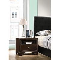 Roundhill Furniture B101EP Randers Wood Nightstand with Open Shelf, 1-Drawer, Espresso