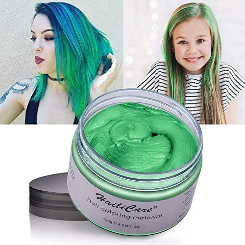 HailiCare Green Hair Wax 4.23 oz, Professional Green Hair Wax, Natural Matte Hairstyle Hair Dye Wax for Party, Cosplay