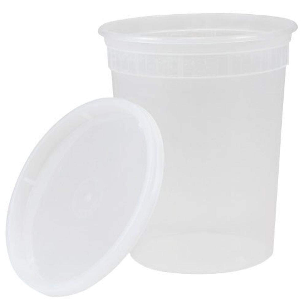 KZ Industrial 05003 Plastic Deli Container with Lid, 32 oz. (Pack of 240)
