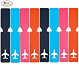 Cruise Baggage Tags - Identifiers Labels For Luggage Suitcases Bags - Strip PU Travel Tag Set 8 Pack