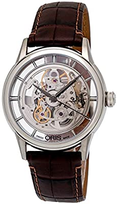 Oris Artelier Skeleton Dial Brown Leather Mens Watch 01 734 7684 4051-07 5 21 70FC