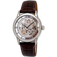 ORIS Artelier Skeleton Dial Calfskin Leather Men's Watch (Brown)