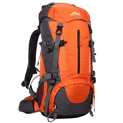 HWJIANFENG 45+5L Mochilas de Senderismo Hombre Portatil Impermeable de Nilon Mochilas de Excursion para Viajes Mochilas Unisex de Ciclismo Naranja