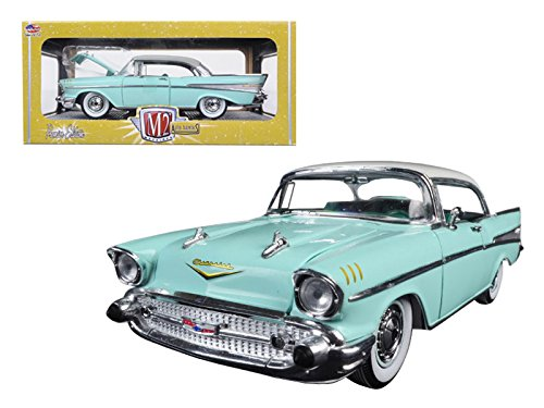 m2-40300-49b-1957-chevrolet-bel-air-hardtop-surf-green-and-india-ivory-1-24-diecast-model-car-machin