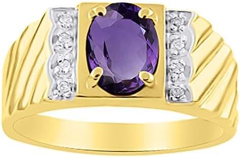 Diamond & Amethyst Ring 14K Yellow or 14K White Gold