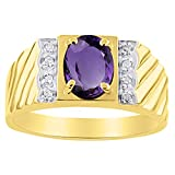 Diamond & Amethyst Ring 14K Yellow or 14K White Gold