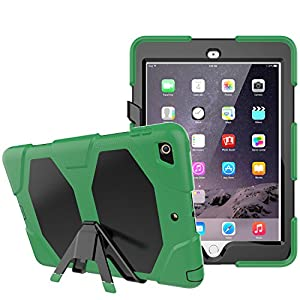 iPad 9.7 Case 2018/2017, Dooge Kickstand Heavy Duty Shockproof Rugged Case Hard PC+Silicone High Impact Full Body Protective Case with Built in Screen Protector for Apple iPad 9.7 inch 2017/2018 Model by 2018 with pencil holder 2018 2018 ipad 6th generati