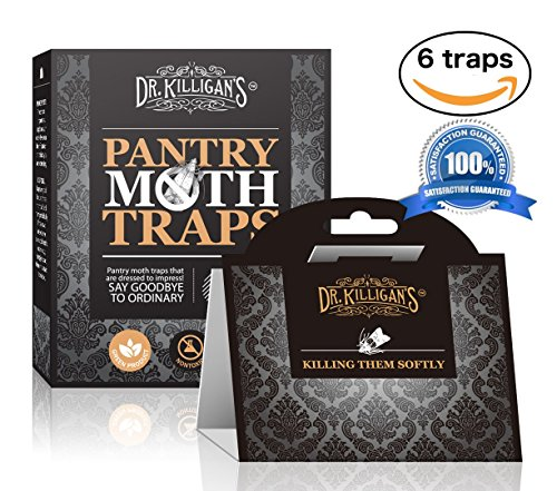 Price comparison product image Dr. Killigan's Premium Pantry Moth Traps With Pheromone Attractant | Safe, Non-Toxic with No Insecticides (6, Black Traps)