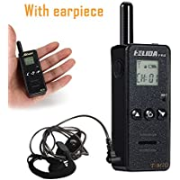 HELIDA TM2D Mini Walkie Talkie Ham Radio 128Channel 400-520MHZ Portable Two Way Radio with Earpiece (Black)