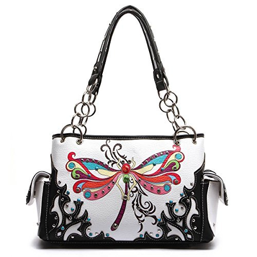 Western Handbag - Colorful Dragonfly Studded Top Handle Satchel Bag