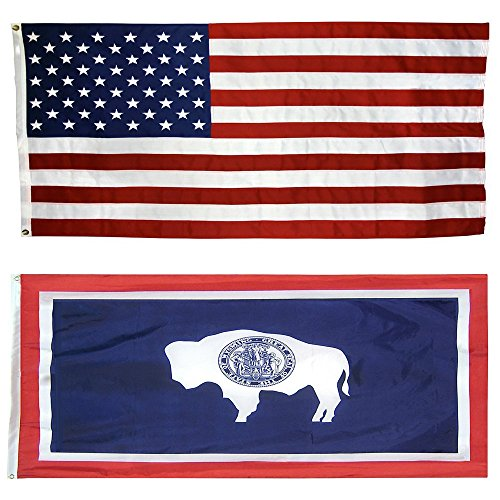 (CollinsFlags US Flag with Wyoming State Flag 3 x 5-100% American Made - Nylon)