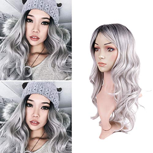 Hairphocas Long Ombre Gray Wigs Dark Roots Wavy Curly Synthetic Free Part Full Wigs Cosplay Party None Lace Replacement Wig