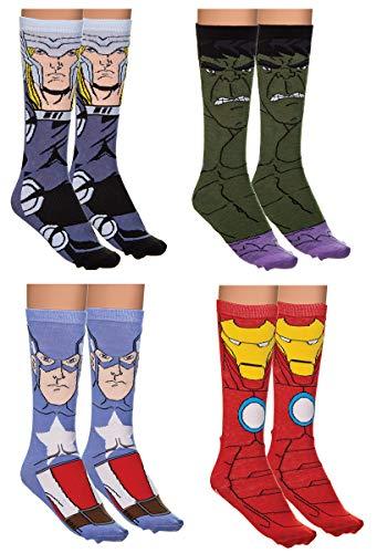 Holiday 4-Pack Jacquard Knit Unisex Crew Socks Gift Sets (Avengers)