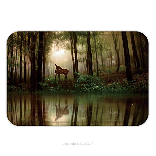 Flannel Microfiber Non-slip Rubber Backing Soft Absorbent Doormat Mat Rug Carpet A Little Fawn In Middle Of A Forest With Water Reflection_45240590 for (Hardwood Fawn)