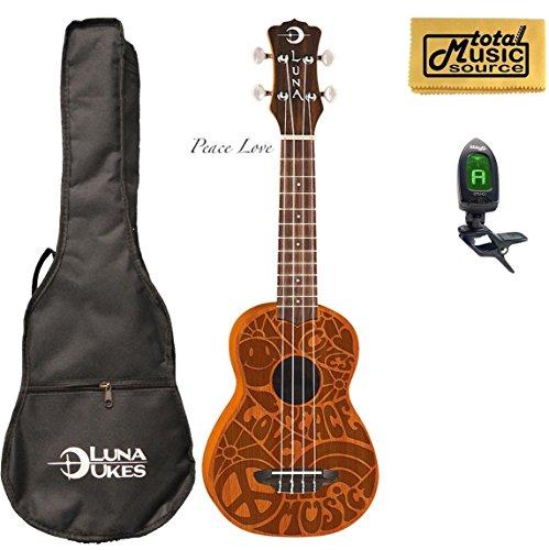 Luna Guitars Peace Love Ukulele W/Gigbag,Tuner, PP & PC (Pce Pack)