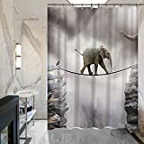 ALDECOR Elephant Walking on the Mountain Rope Shower Curtain 72' x 72' Mildew Resistant Waterproof Fabric Polyester Shower Curtains