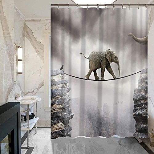 ALDECOR Elephant Walking on the Mountain Rope Shower Curtain 72'' x 72'' Mildew Resistant Waterproof Fabric Polyester Shower Curtains by ALDECOR