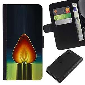 All Phone Most Case / Oferta Especial Cáscara Funda de cuero Monedero Cubierta de proteccion Caso / Wallet Case for Sony Xperia Z3 D6603 // Heart Strawberry Red Watercolor