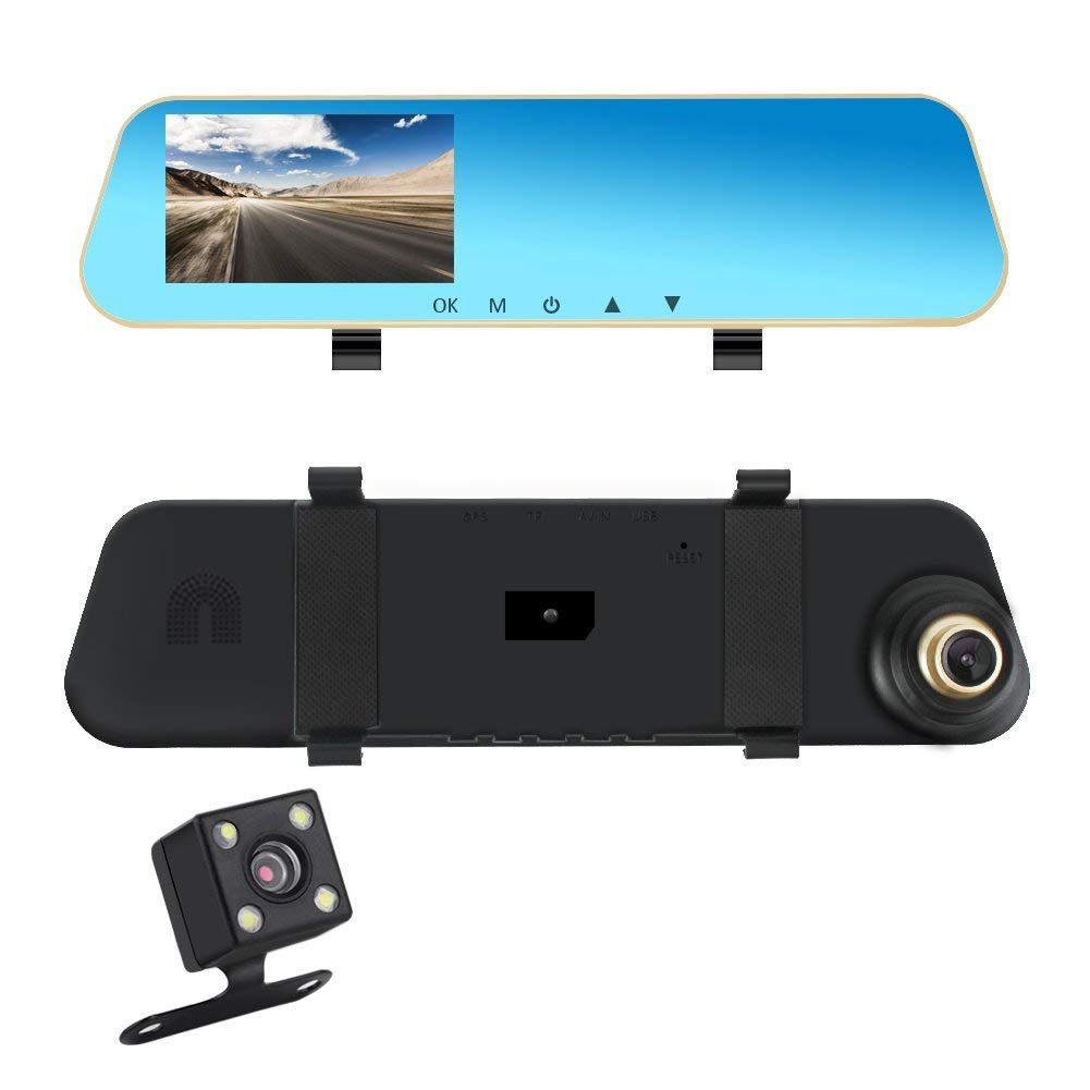 Eagle Eye Car Dash Cam Rear View Mirror Dual Lens Front and Rear Camera Backup Reverse Camera Parking Assistant 4.3'' 1080P Screen Night Vision by Eagle Eye