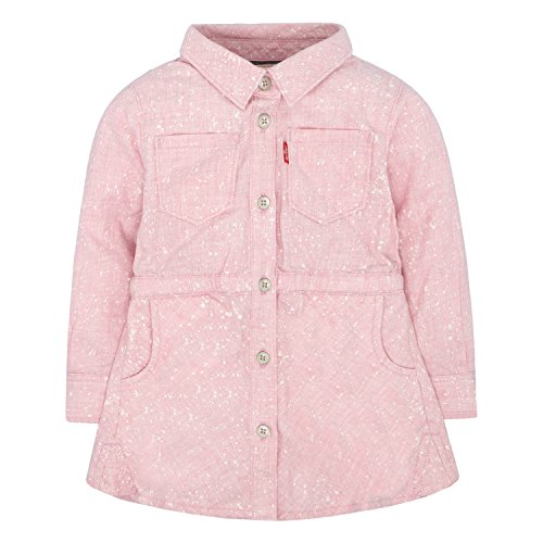 Levi's Baby Girls' Long Sleeve Dress, Candy Pink Acid Wash, 6/9M