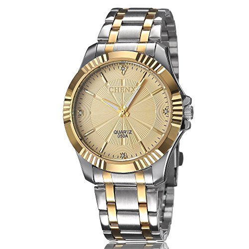 (Fq-005 Gold Stainless Steel Mens Wrist Watches for Man Silver Golden Face Classic Crystals Style,Father's Day Gifts)