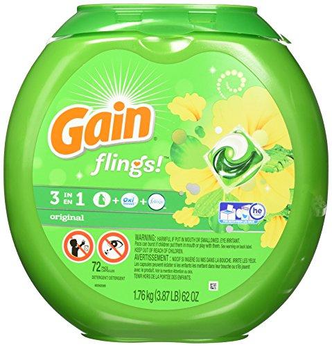 Gain Flings Laundry Detergent Pacs, Original Scent, 72 count