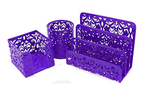 EasyPAG Carved Hollow Flower Pattern 3 in 1 Desk Organizer Set - Letter Sorter, Pencil Holder and Stick Note Holder,Purple (Pattern Hollow Flower)
