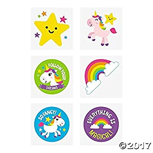Fun Express Rainbow Unicorn Tattoos – 72 pc