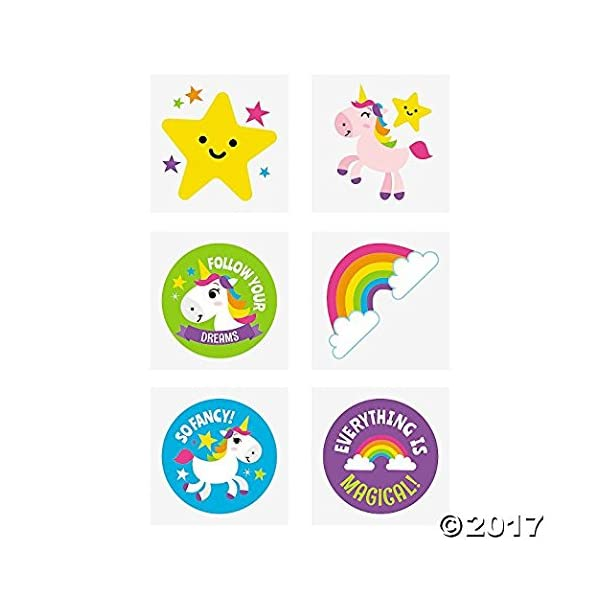 Fun Express Rainbow Unicorn Tattoos - 72 pc 3