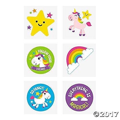 Rainbow Unicorn Tattoos - 72 pc ()