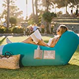 Wise Owl Outfitters Inflatable Lounger Air Hammock Sofa by - Large Waterproof Pool or River Float - Indoor or Outdoor Adjustable Hangout Chair Seat for Camping - Teal & Ash
