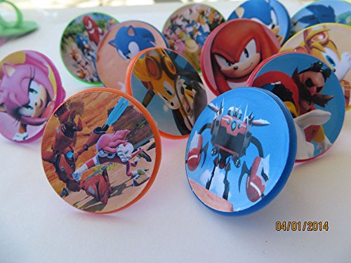 12 Sonic Boom Rings cupcake toppers - birthday party favor -Hedgehog Tails Sega by Unknown]()