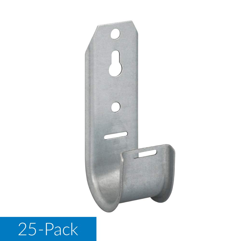 J-Hook Cable Support 4in Wallmount Galvanized Steel 25 Pack