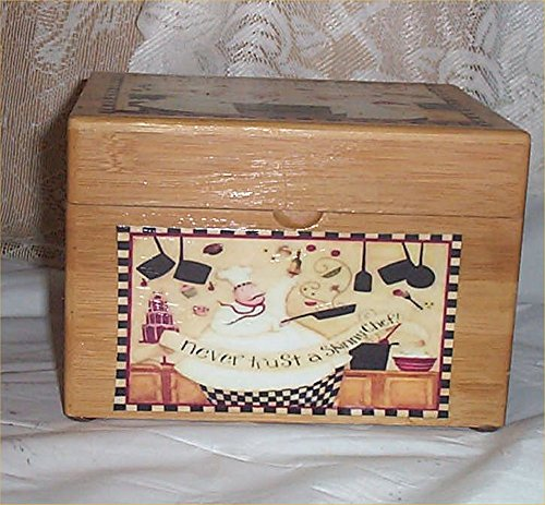 Wood Chef Recipe Box Bamboo Never Trust Skinny Cafe Latte Kitchen Decor - Fat Bamboo