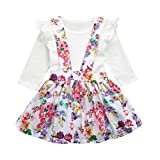 Internet_Kids Clothes For 0-24 months Years Old Girls Dress,Interent 2PC Newborn Baby Girl Toldder Floral Print Tutu Dress+Jumpsuit Romper Set Outfit (0-6 months, White)