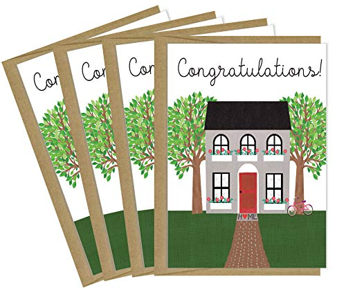New Home Card   4 Pack Housewarming Cards with Kraft Envelopes   Made in the USA