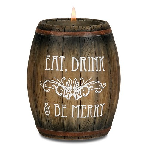 Wine All The Time 22025 Wine Barrel Candle Holder, Eat, Drink and be Merry, 3-3/4-Inch (Wine Barrel Products compare prices)