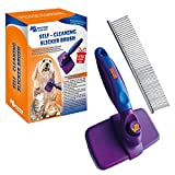 PerfectlyMade Self Cleaning Slicker Brush Steel Comb - Quick Gentle Removal Tangles, Knots, Dander Trapped Dirt- Long & Short Fur - Large & Small Pets - Pet's