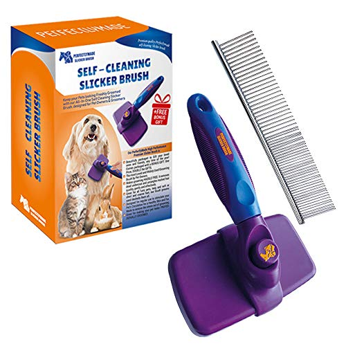 PerfectlyMade Self Cleaning Slicker Brush Steel Comb - Quick Gentle Removal Tangles, Knots, Dander Trapped Dirt- Long & Short Fur - Large & Small Pets - Pets
