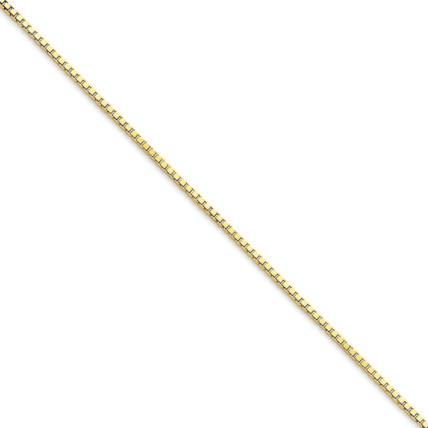 """10K Yellow Gold 1.25mm Box Chain Anklet, 9"""""""