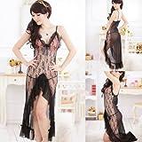 Alicenter(TM) Black Lingerie Lace Dress Women Sexy Sleepwear Lady Underwear Babydoll Nightwear