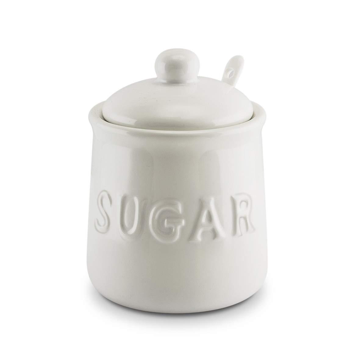 KOVOT 10 oz Ceramic Sugar Jar & Spoon Set | White