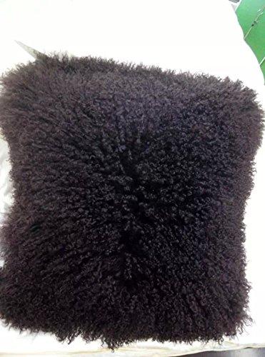 ROSE FEATHER Real 100% Tibetan Mongolian Lamb Sheepskin Wool Fur Super Soft Plush Leather Pillowcase Cushion Cover (20x20inch, Brown) - Square Pillow Wool