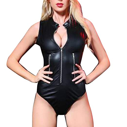 bc81f32e1a03a VIASA  Ladies Underwear Large Size Black Sexy Patent Leather Bodysuit deep  V Zipper Temptation Pajamas (