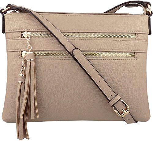 B BRENTANO Vegan Multi-Zipper Crossbody Handbag Purse with Tassel Accents (Taupe(N))