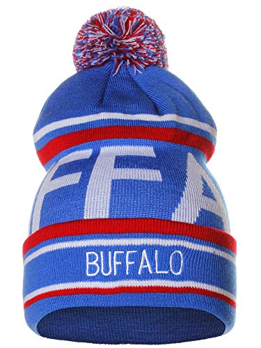 American Cities Buffalo Over Sized City Letters Pom Pom Knit Hat Cap ()